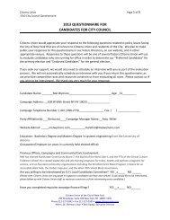 Candidate Questionnaire - Citizens Union