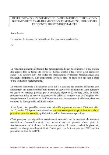 13/01/2003 - Avenant au protocole: version finale du 13/01 ... - Snphar
