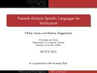 Towards Domain Specific Languages for Verification