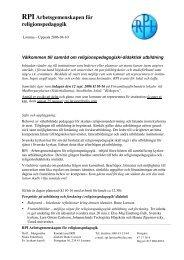 Samråd om religionspedagogisk/-didaktisk utbildning