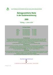 Beitragsrechtliche Werte 2009 -14.1.09 - Hauptverband