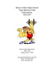Klein Collins High School Tiger Booster Club Information