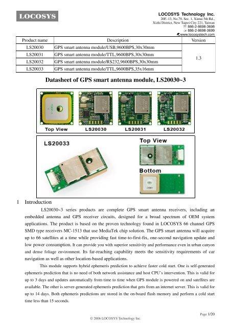 Datasheet of GPS smart antenna module, LS20030~3 on