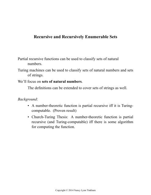 Recursive and Recursively Enumerable Sets - Chapter 3 (PDF)