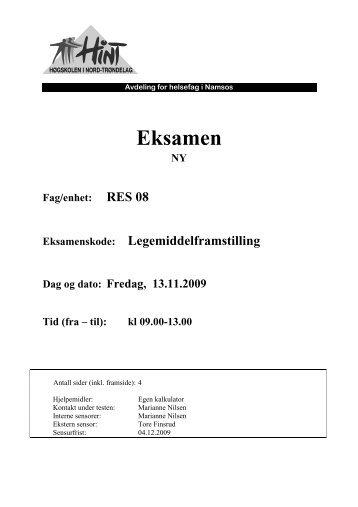 RES 08 - Legemiddelframstilling - 13112009