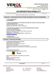 Charakteristikblatt von dem produkt - Venol Motor Oil