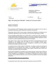 Objet : Plan clusters pour CPAS 2007 – création de 10 nouveaux ...