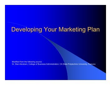 Developing Your Marketing Plan