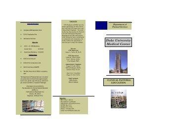 Clinical Pastoral Education - Duke University Medical Center