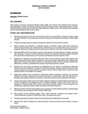 SUPPORT STAFF POSITIONS Job Description: District Bookkeeper ...