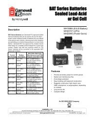 BAT Series Batteries Sealed Lead-Acid or Gel Cell - Gamewell-FCI