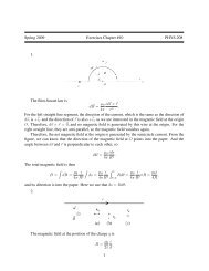 Spring 2009 Exercises Chapter #10 PHYS-208 1. The Biot-Savart ...