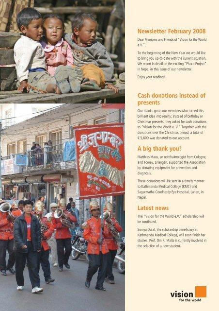 Newsletter February 2008 - Vision for the World