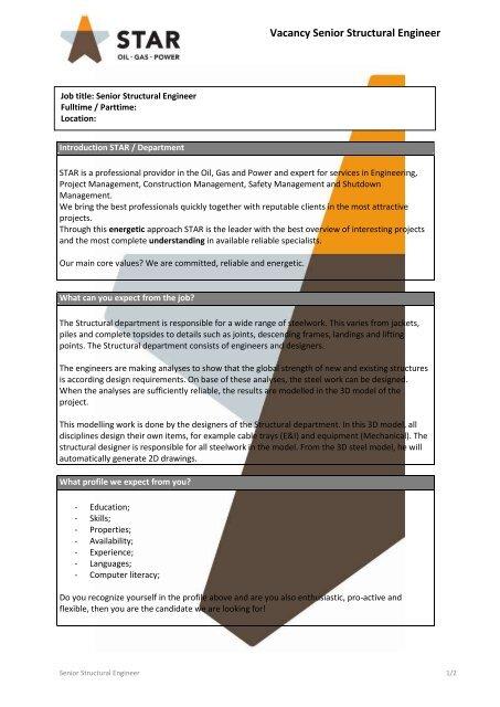 Vacancy Senior Structural Engineer - MBA-URV