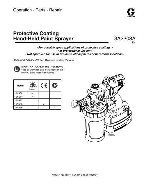 3A2308A - Protective Coating Hand-Held Paint Sprayer, Operation ...