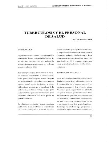 TUBERCULOSIS Y EL PERSONAL DE SALUD