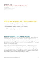 Quarterly update for the period ended 30 Sep 2012 - MTN Group