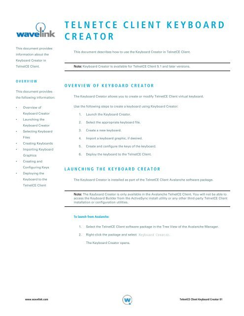 TELNETCE CLIENT KEYBOARD CREATOR - Wavelink