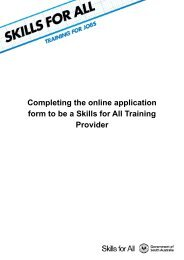 Completing the online application form to be a Skills for All Training ...