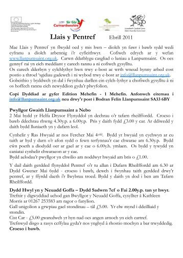 Llais y Pentref Ebrill 2011 - Llanpumsaint Community Information ...