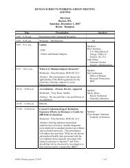 Agenda for Dec. 2007 Human Subjects Working Group Meeting