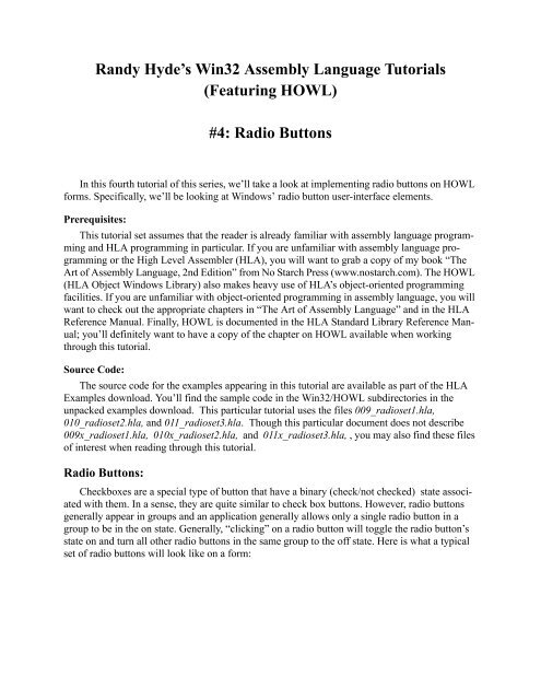 Randy Hyde's Win32 Assembly Language Tutorials - Plantation
