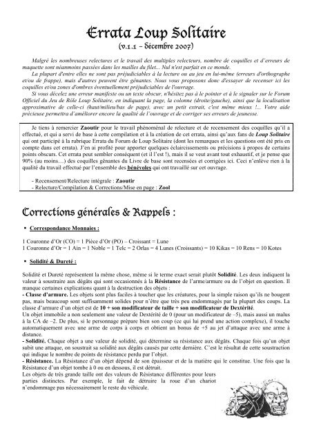 Errata Loup Solitaire - Cerbere.org