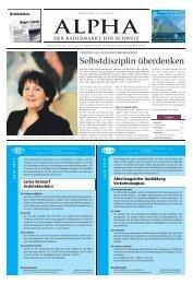 Selbstdisziplin überdenken - Tagesanzeiger e-paper - Tages-Anzeiger
