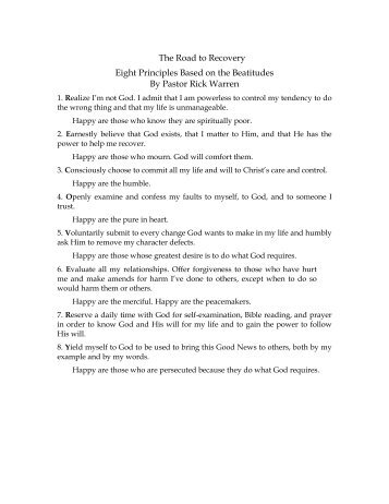 The Road to Recovery Eight Principles Based on the Beatitudes By ...