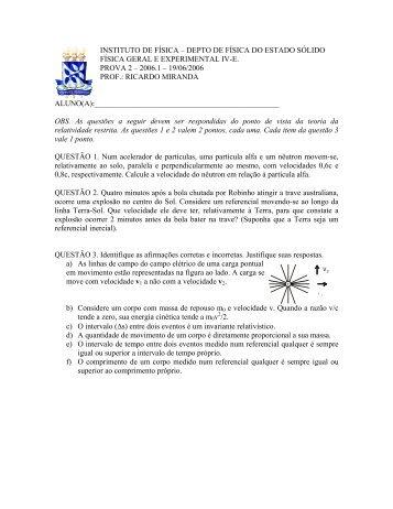 Prova-2-2006-1 - Instituto de Física da UFBA