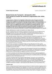 Musée Suisse des Transports : rétrospective 2012 Forte hausse du ...