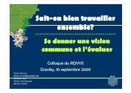 Sait-on bien travailler ensemble - Réseau québécois des villes et ...