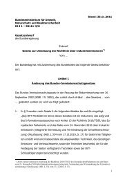 Entwurf Gesetz zur Umsetzung der Richtlinie über Industrieemissionen