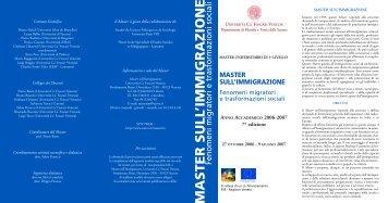 MASTER SULL'IMMIGRAZIONE - Stranieri in Italia
