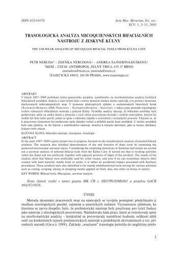 trasologická analýza micoquienských bifaciálních nástrojů z jeskyně ...