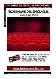 Programme des spectacles Avril-juin 2010 - Théâtre Musical ...