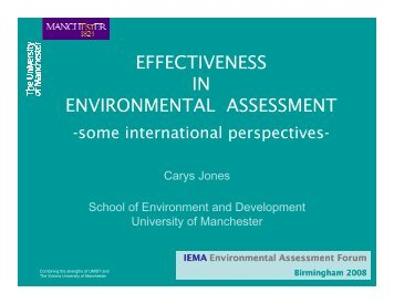 EFFECTIVENESS IN ENVIRONMENTAL ASSESSMENT - IEMA