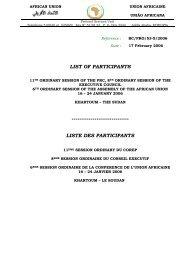LIST OF PARTICIPANTS LISTE DES PARTICIPANTS - Union africaine