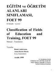 foet 1999, eğitim ve öğretim alanları sınıflaması - Türkiye İstatistik ...
