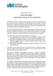 Communiqué de Presse 10 mai 2011 - Le Livre sur les quais
