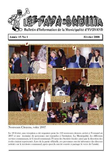 Année 15 No 1 Février 2008 Nouveaux Citoyens, volée ... - Yvonand