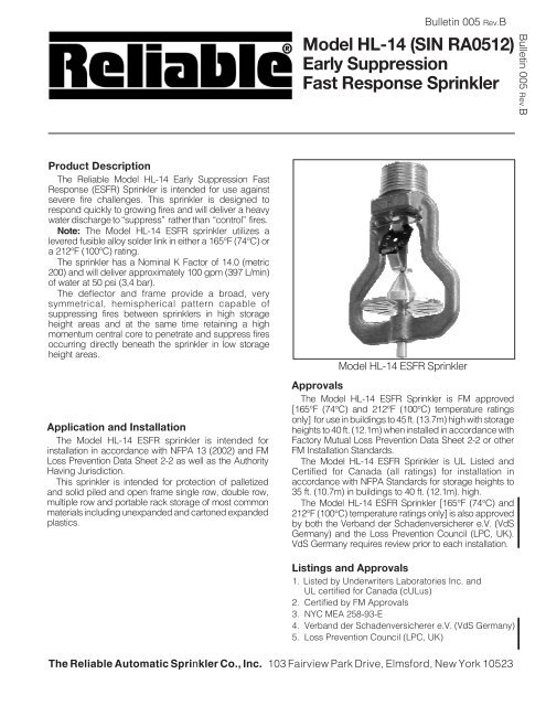 Model HL-14 (SIN RA0512) - Reliable Automatic Sprinkler Co