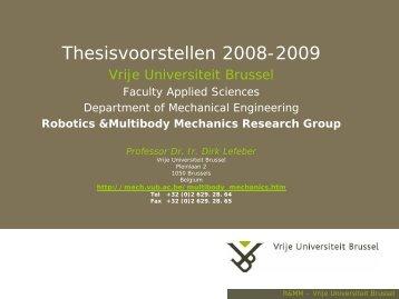 Voorstelling Eindwerken 2006-2007 - Vrije Universiteit Brussel