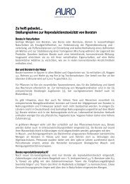 Stellungnahme zur Reproduktionstoxizität von Boraten - Auro