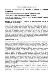 Metodi e sintesi in chimica inorganica - Università degli Studi della ...