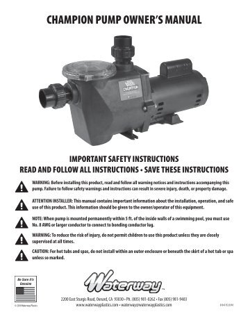 56 Frame Executive Euro Pump Safety Instructions