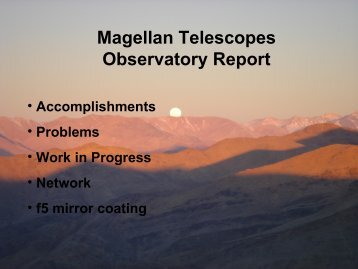 Telescope report - MagellanTech