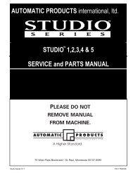 AUTOMATIC PRODUCTS international, ltd. STUDIO 1,2,3,4 & 5 ...