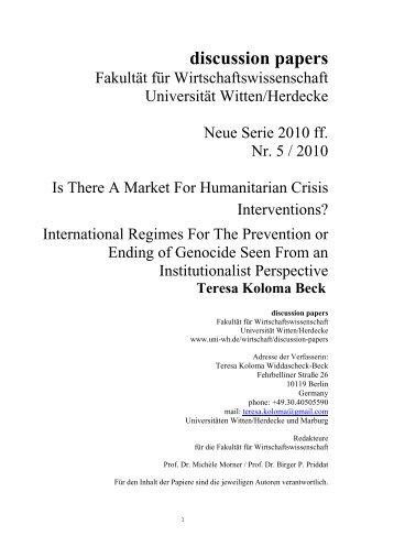 discussion papers - Universität Witten/Herdecke