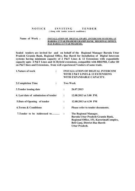 tender notice for supply & installation of intercom system
